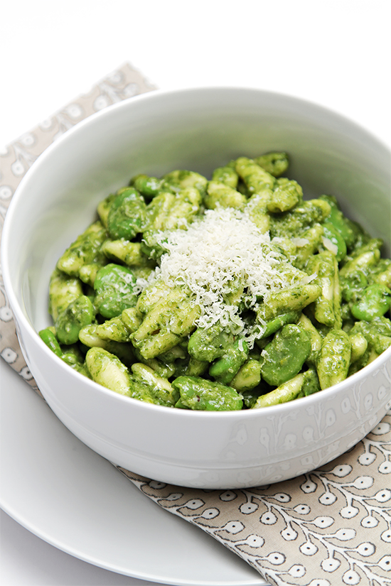 Cavatelli with fresh fava beans and ramp pesto