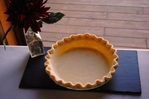 Unbaked Pie Crust before blind baking.