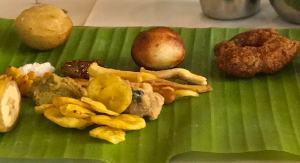 Condiments served first at Danna Onam Sadhya