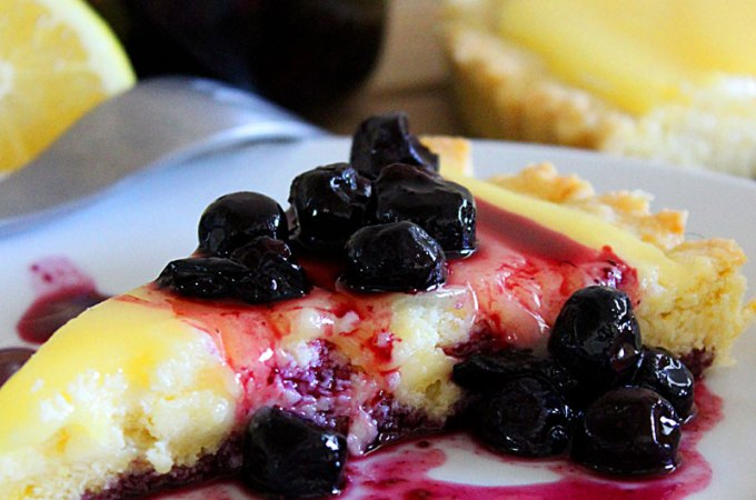 Lemon Curd Cheesecake Tart Recipe with Lemon Crust and Blueberry Topping