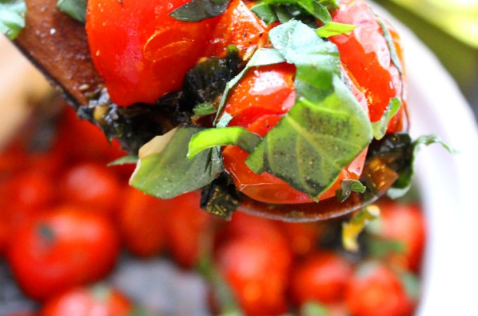 Healthy and Easy Roasted Grape Tomato Salad with Fresh Herbs Recipe