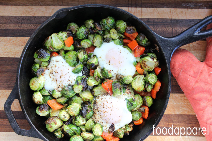Brussels Sprouts, Red Pepper, and Egg Breakfast Skillet Recipe - a great tasty (AND healthy) breakfast!
