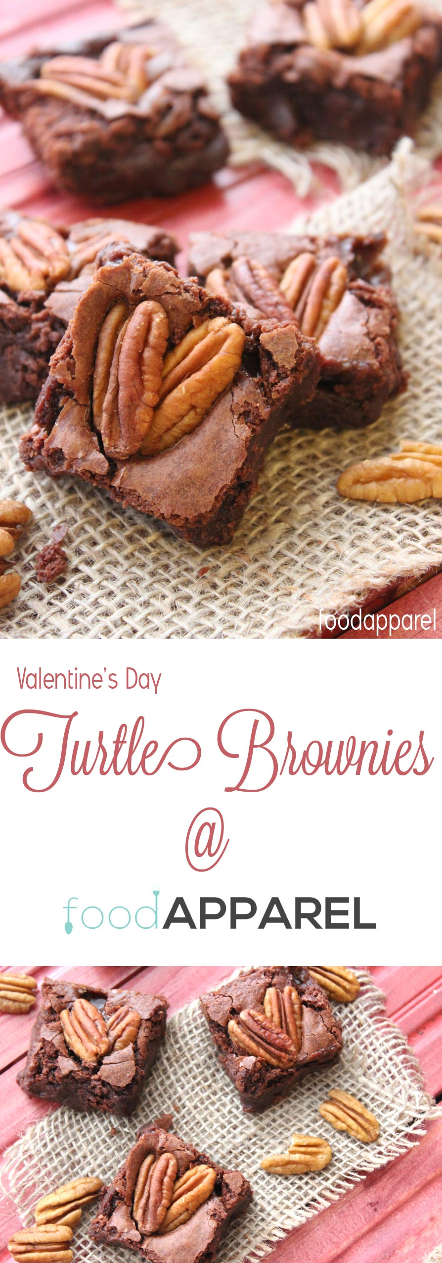 These Valentine's Day Heart Turtle Brownies are sure to win their way into someone's heart! Caramely, chocolately and delicious! @foodapparel