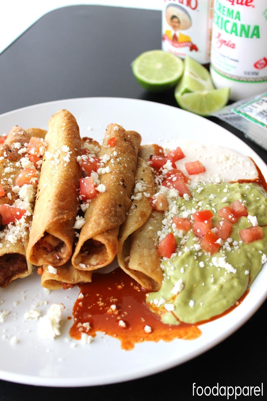 Easy Mexican Bean Taquitos! These are SOOOO good.