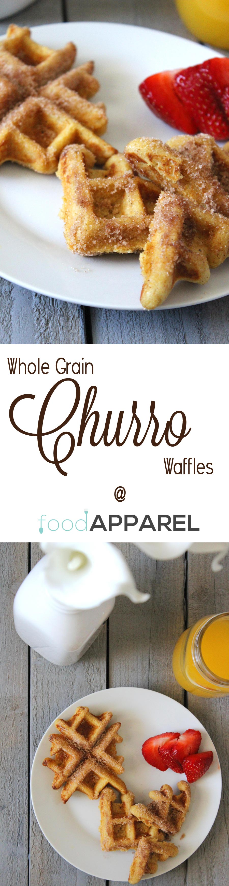 Whole Grain Churro Waffles - perfect for breakfast, brunch....anytime!