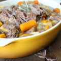 Garlic and Rosemary Crockpot Beef Roast. Savory, easy, delicious!