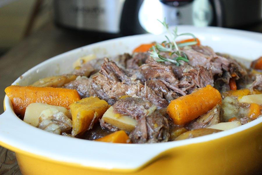 Garlic and Rosemary Crockpot Beef Roast. Savory, easy, delicious!