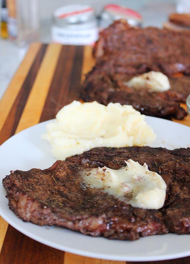 Ribeye Steak with Garlic Truffle Butter