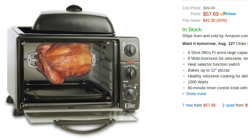 MaxiMatic ERO-2008S Elite Cuisine Toaster Oven