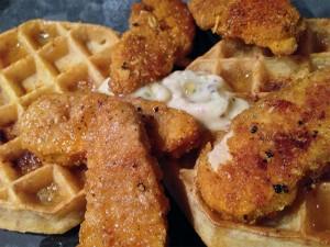 Veggie Chicken and Waffles