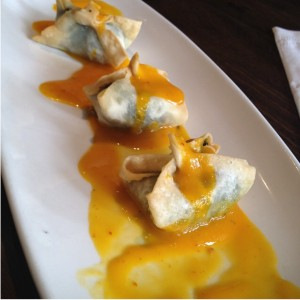 Soy Cheese & Watercress Vegan Wontons w/ mango sauce