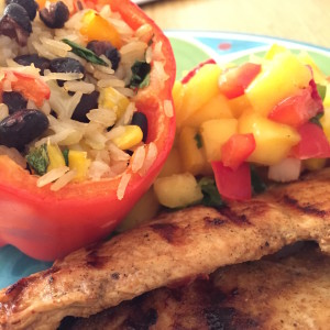 Tex-mex Stuffed Peppers with Grilled Chicken and Mango Salsa