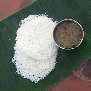 Idiyappam with south-indian style pepper and ginger soup