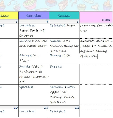 2014 Blogging Calendar | Menu Planner