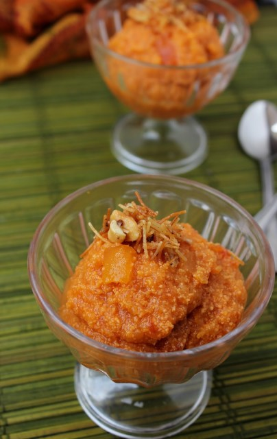 papaya apple halwa, papaya halwa