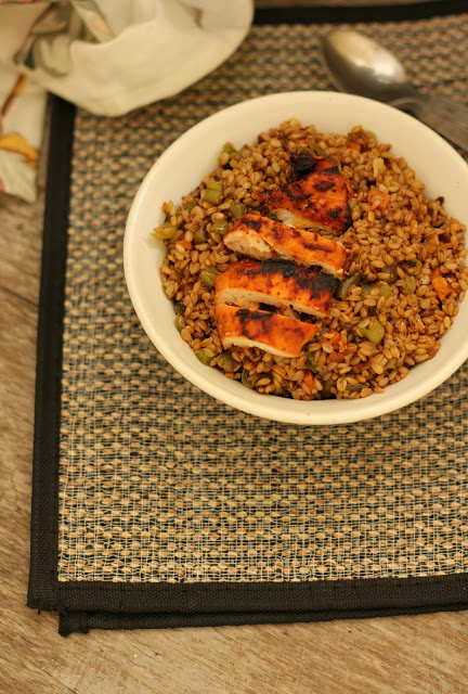 fried bamboo rice and grilled chicken