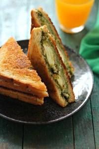 Pesto paneer sandwich
