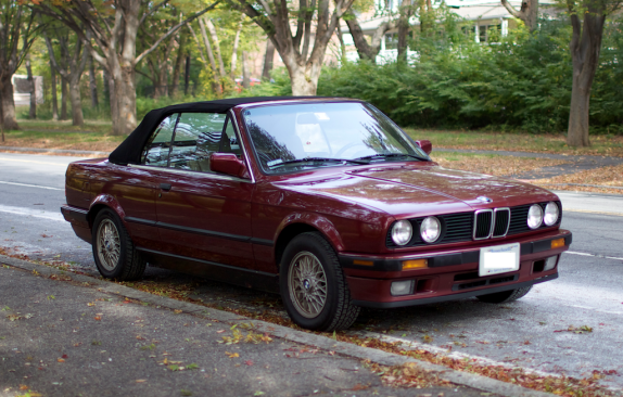 "My 1992 BMW 325iC convertible, now a ""classic"" car. She's over twenty years old and is a blast to drive."
