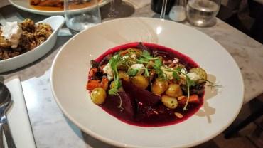 vibrant colours in the beet bourguignon