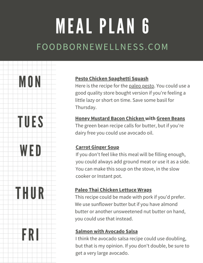 Paleo meal plan for week 6