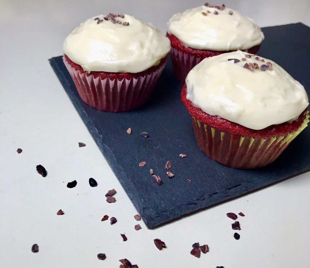 These red velvet cupcakes are moist, fluffy, and sweet. Top them off with some vegan cream cheese frosting for an extra decadent treat!