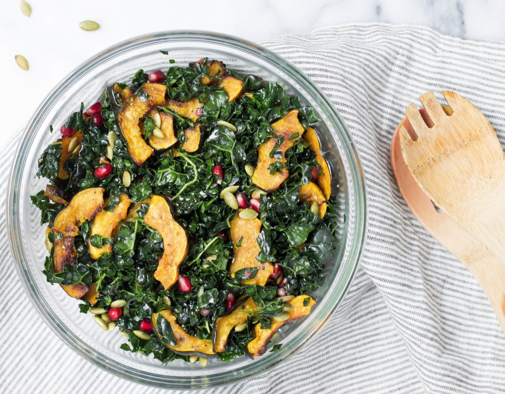 Autumn Kale Salad (Vegan)