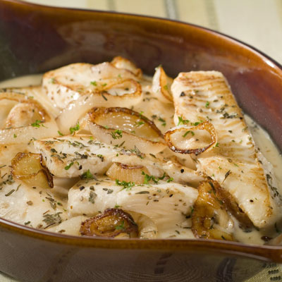 Fish Baked In Creamy Milk Sauce with Onions & Herbs recipe
