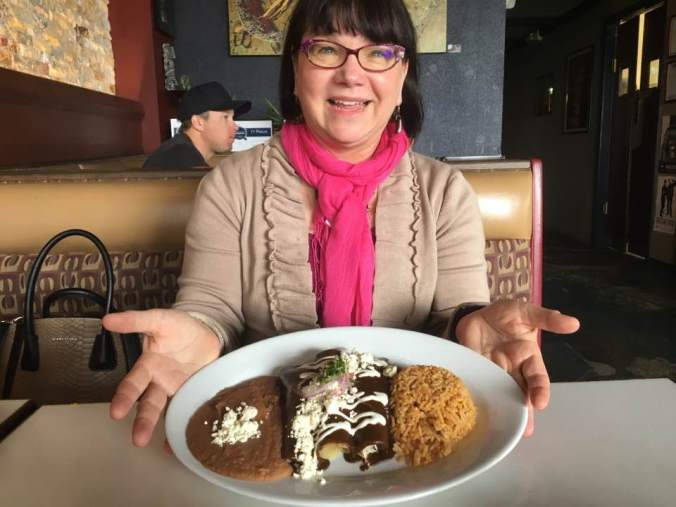 Bonnie with Mexican food in California