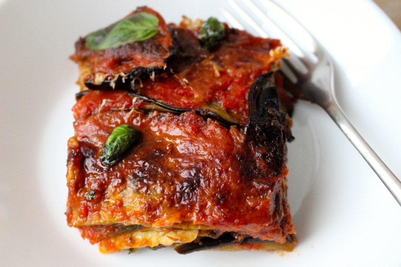 Serving Eggplant Parmesan