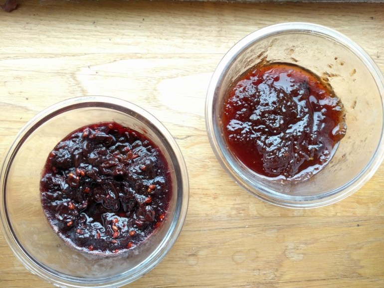 making jam: fig and grape jam in bowls