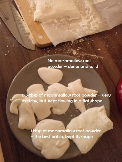 cutting marshmallow root marshmallows