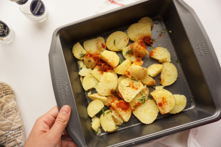 microwaved potatoes ready for the final bake in the oven