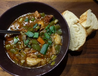 New Orleans gumbo, with some fresh baked bread
