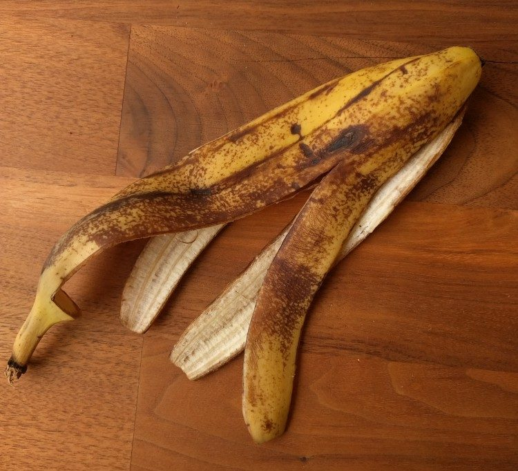 peeled banana, starting browning
