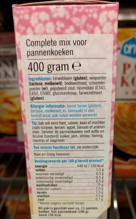 Dutch pancake mix label