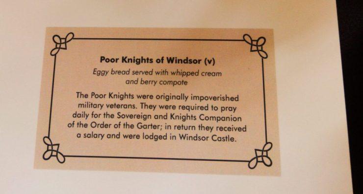 poor knights of windsor menu