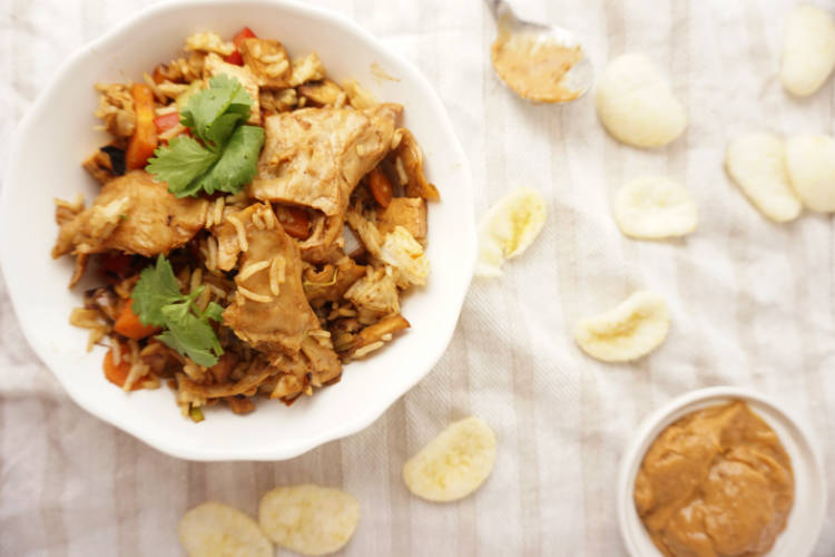 Vegetarian chicken used in fried rice