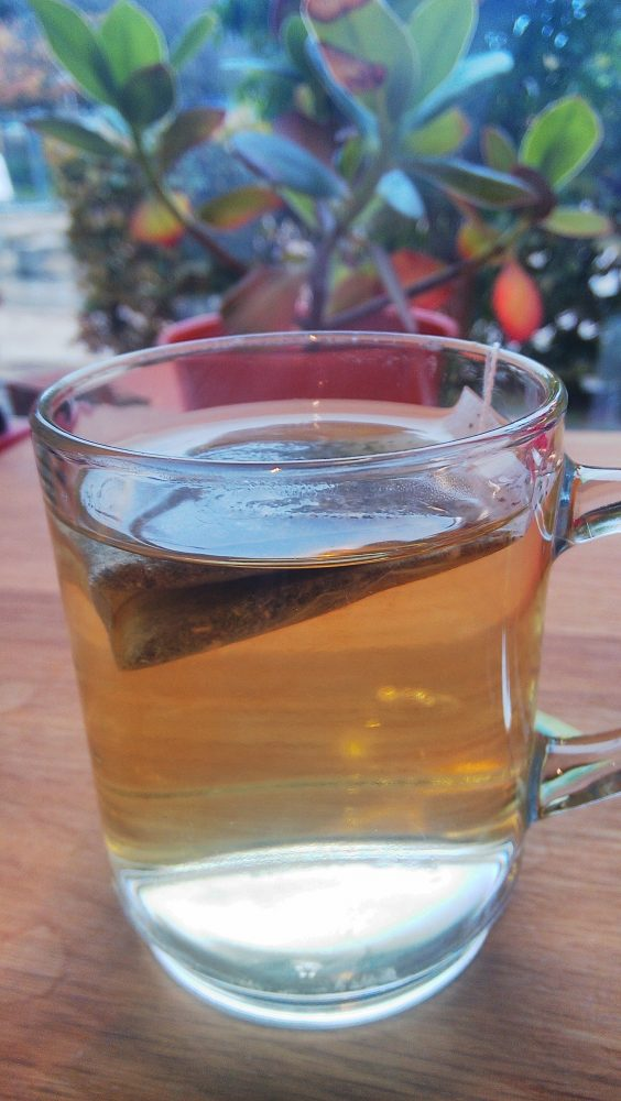 tea bag steeping in a hot cup of water