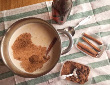 making eggnog adding the spices