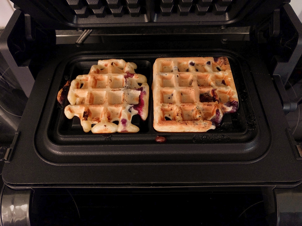 making waffles in a waffle iron that doesnt flip over