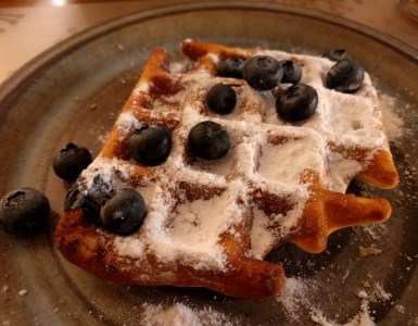 waffle with blueberries