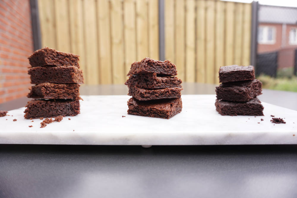 brownie experiment - three styles gooey cakey chocolatey