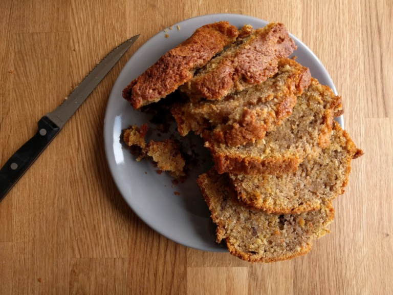 carrot walnut cake, sliced freshly baked