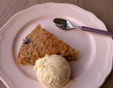 vanilla ice cream with blueberry cake