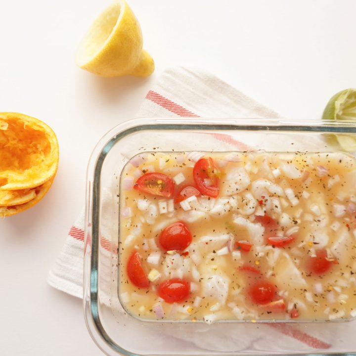 tilapia ceviche from lime, lemon and orange juice