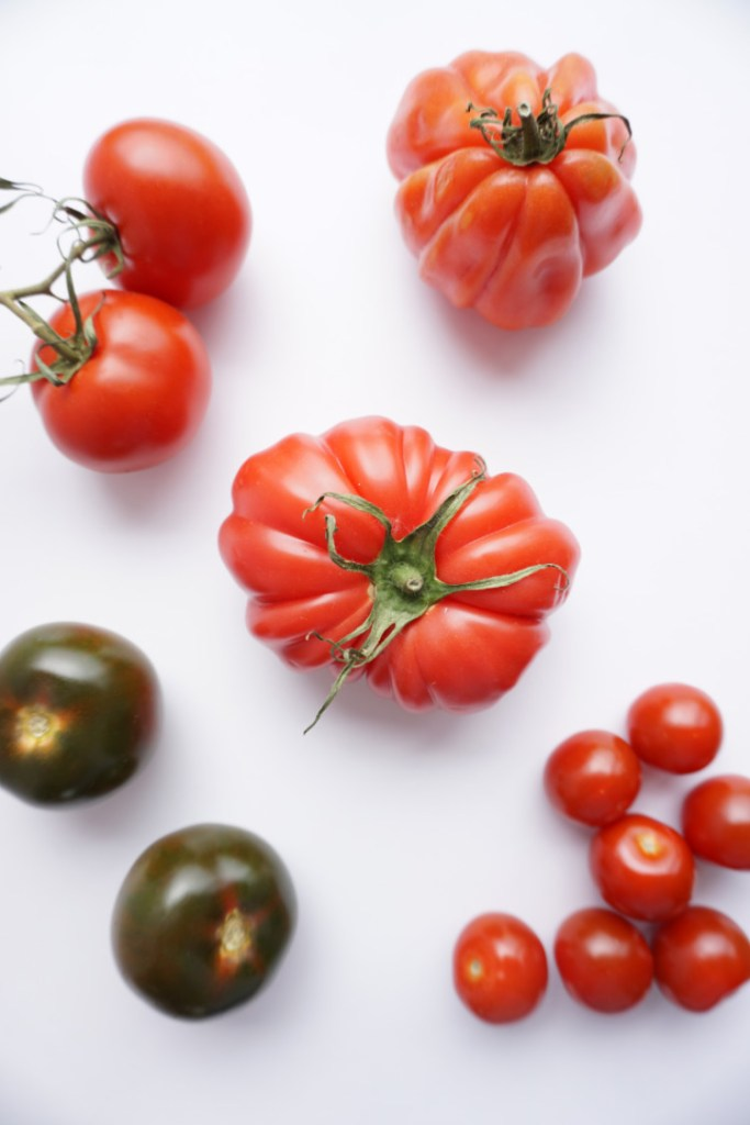 cherry, red, vine, green tomatoes, all different varieties