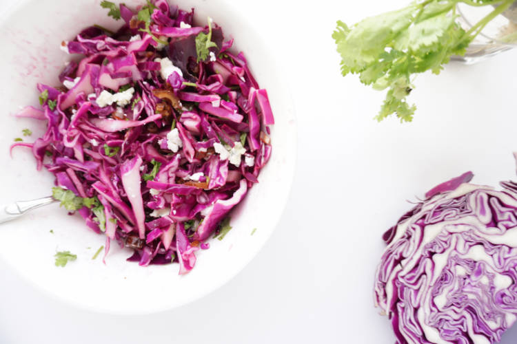 red cabbage salad - showing the bright purple cabbage colour of raw red cabbage