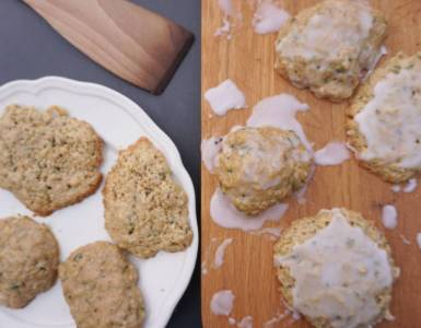 zucchini courgette cookies with half of them iced with icing sugar icing