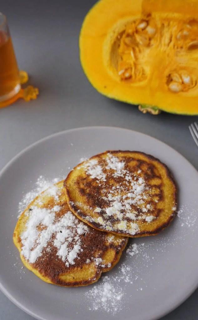 pumpkin pancakes with kabocha pumpkin