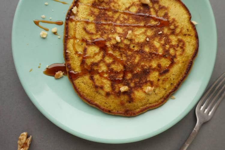 pumpkin pancakes with sugar syrup